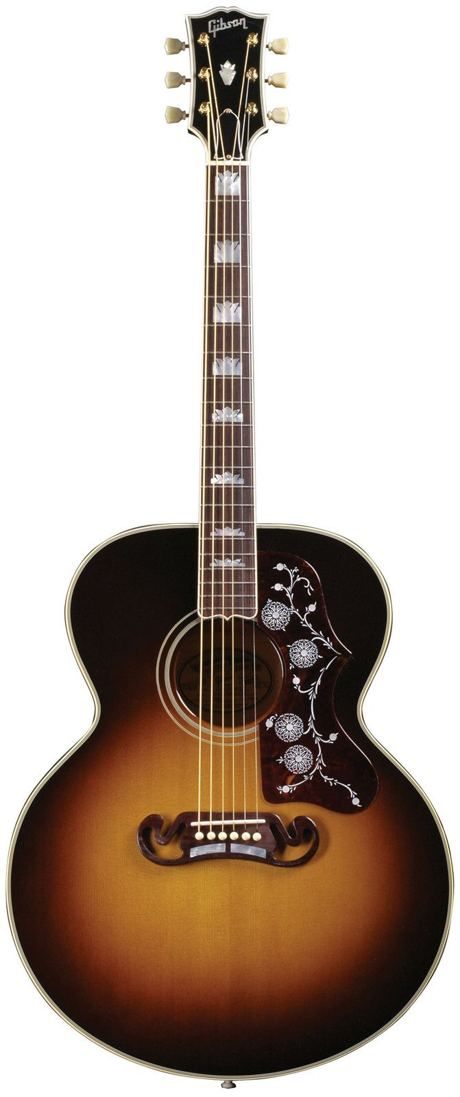 Gibson SJ-200. I have this exact model, color and all. Originally designed for the singing cowboys of the 1930s and beloved by generations of rockers and country outlaws alike, its widescreen sound and ornate design earned it the designation 'king of the flat-tops.' You'll get no argument from me.