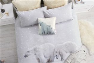 Polar bear print bed set from Next This is really cool and would go nicely in our silver bedroom once I've painted it!