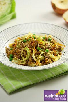 Pork & Cabbage Stir Fry . #HealthyRecipes #DietRecipes #WeightLossRecipes weightloss.com.au