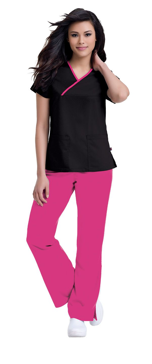 "Urbane Ultimate's 9407 ""Mandi"" crossover tunic is the perfect spin on the classic Urbane top, just softer and more comfy! #urbane #scrubs #medical #uniforms #style #hospital #nurse #vet #tech #dental #health #red #pink #february #valentine"