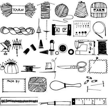 Knitting and Sewing Doodles Font    http://love-luck-kisses-cake.blogspot.com/2010/10/knitting-and-sewing-doodles-font.html
