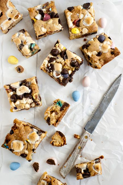 Loaded Candy Cookie Bars- Great for Easter. You can use your extra Cadbury Eggs to make the bars!