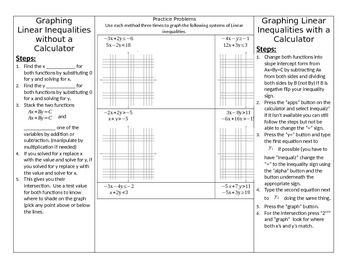This+is+a+tri-fold+foldable+that+meets+in+the+middle.++On+the+left+side+are+guided+notes+explaining+the+process+for+graphing+linear+inequalities+using+the+x+and+y+intercepts.++On+the+right+side+are+the+steps+for+graphing+inequalities+using+a+TI-84+calculator.
