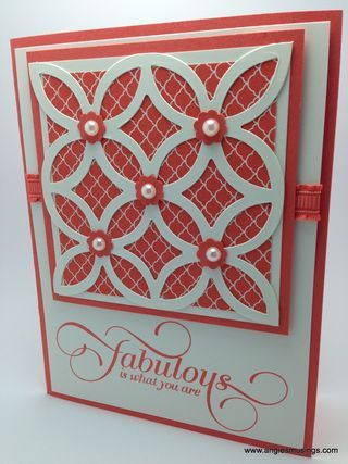 handmade greeting card from Angie's Musings ... white and coral ... crisp look with lots of layers .... luv the die cut grill over small print paper ... Stampin' Up!