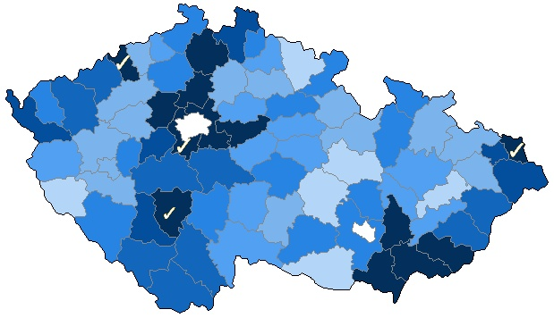Percentage of photos of municipalities in the Czech Republic, actual to 2013-01-01