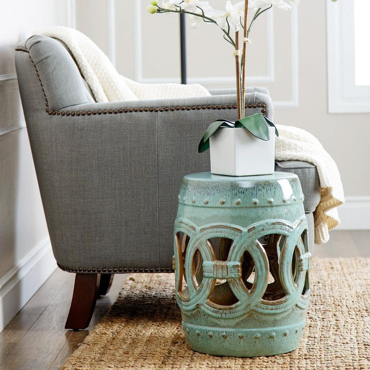 Abbyson Living Yasmine Ceramic Garden Stool - Elegant design and beautiful ornamentation make the Abbyson Living Yasmine Ceramic Garden Stool a standout in your home. This beautiful stool can be u...