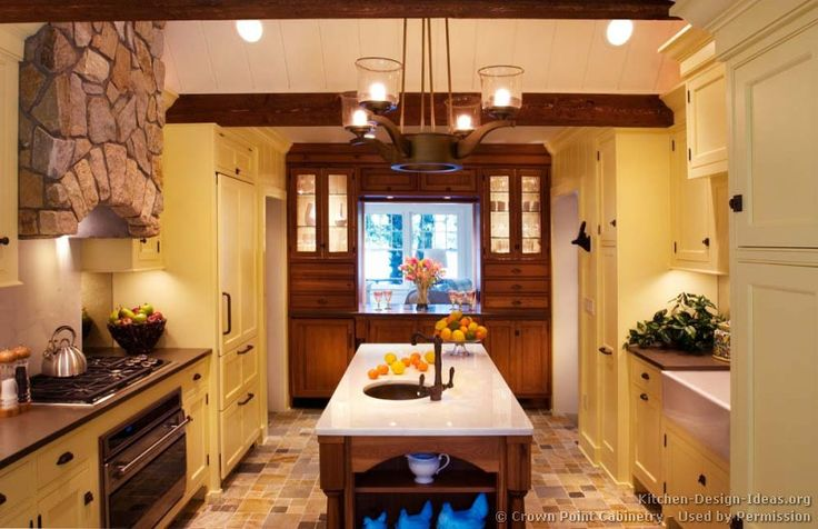 118 best yellow kitchens images on pinterest yellow for Rustic yellow kitchen