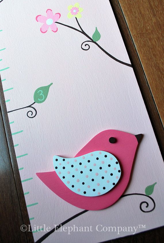 Elizabeth Birds Wooden Growth Chart, handpainted, FREE nail cover and personalization via Etsy