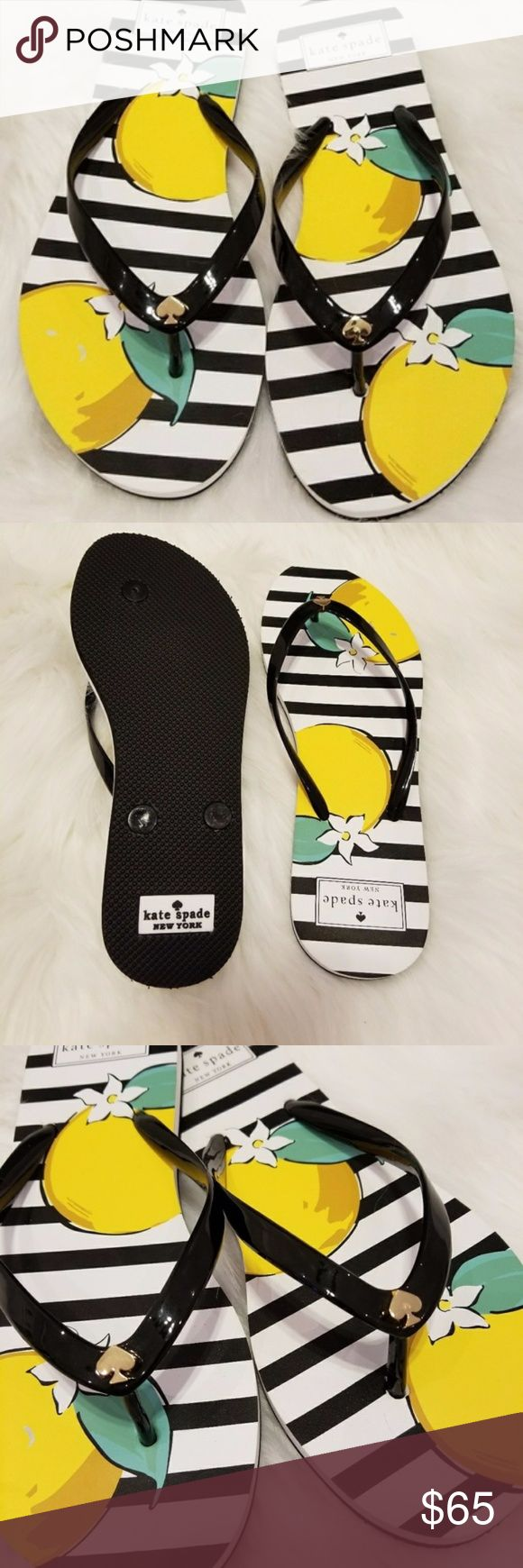 KATE SPADE stripe flip flops SIZE 7 New without box. Kate Spade summer days black and white stripe flip flops with flower design.  New from smoke and pet free home. kate spade Shoes