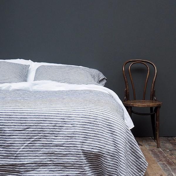 Midnight Stripe Linen Queen Size Duvet Cover | PIGLET US