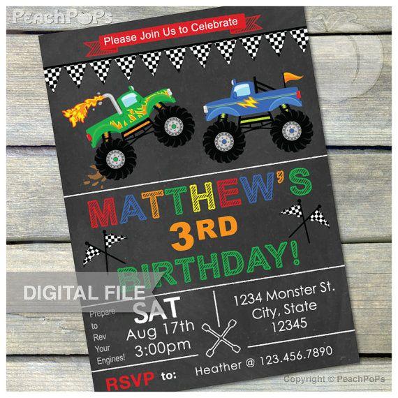 "Monster Truck Birthday Invitation Chalkboard Party Invitation - Digital Invite - 5"" x 7"" - DIGITAL Printable"