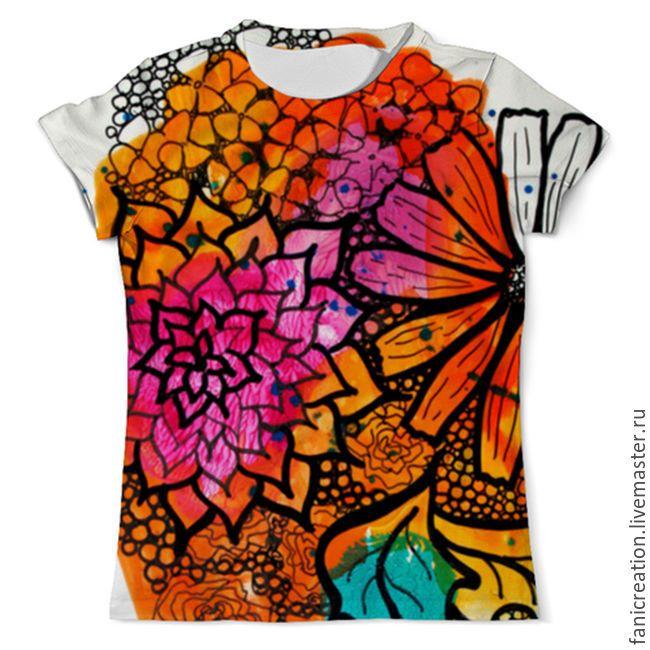 Купить Футболка. Оранжевое настроение. - рыжий, абстрактный, футболка, футболка с принтом, осень, яркая футболка