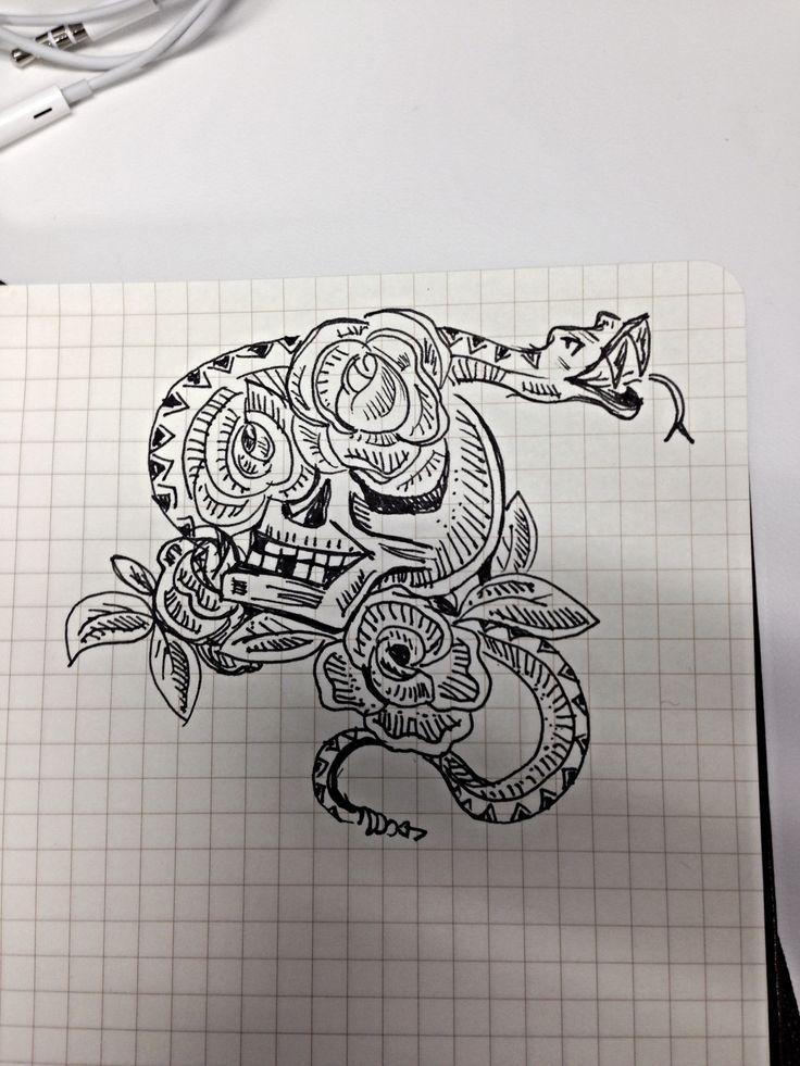 Snake - Skull - Rose Tattoo Sketch | Saraan Tat ideas | Pinterest
