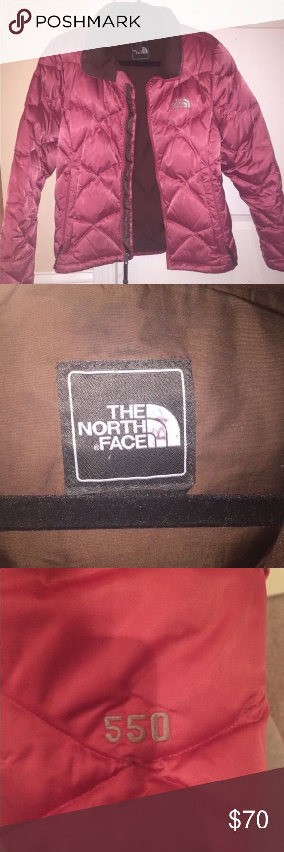 North Face Womens Quilted Jacket. 550 Goose Down. Berry colored down feather winter coat! This has been my favorite jacket over the years and will keep you extra warm during the winter. North Face Jackets & Coats Puffers