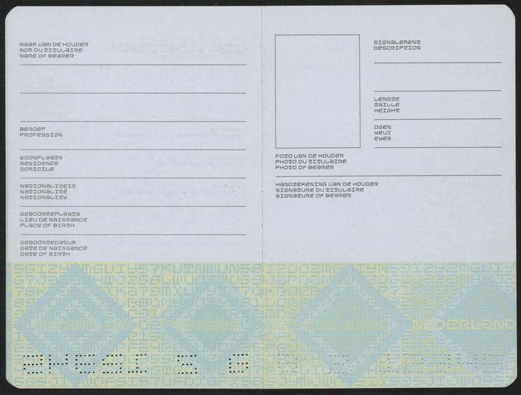 Jurriaan Schrofer - Paspoort van het Koninkrijk der Nederlanden (Dutch Passport) 1968-1973