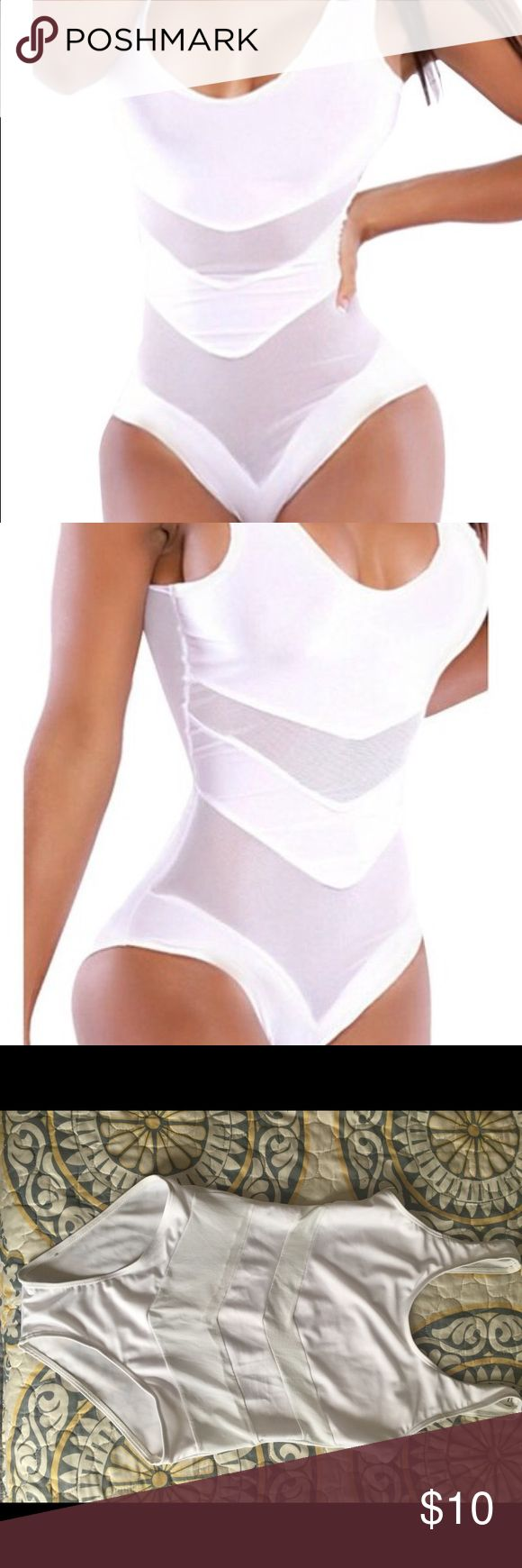 White one piece swimsuit White with mesh inserts one piece swimsuit. Size large. Swim One Pieces