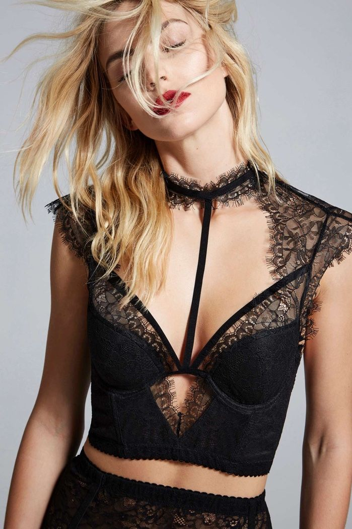Model wears Black Lace Bustier for lookbook photoshoot