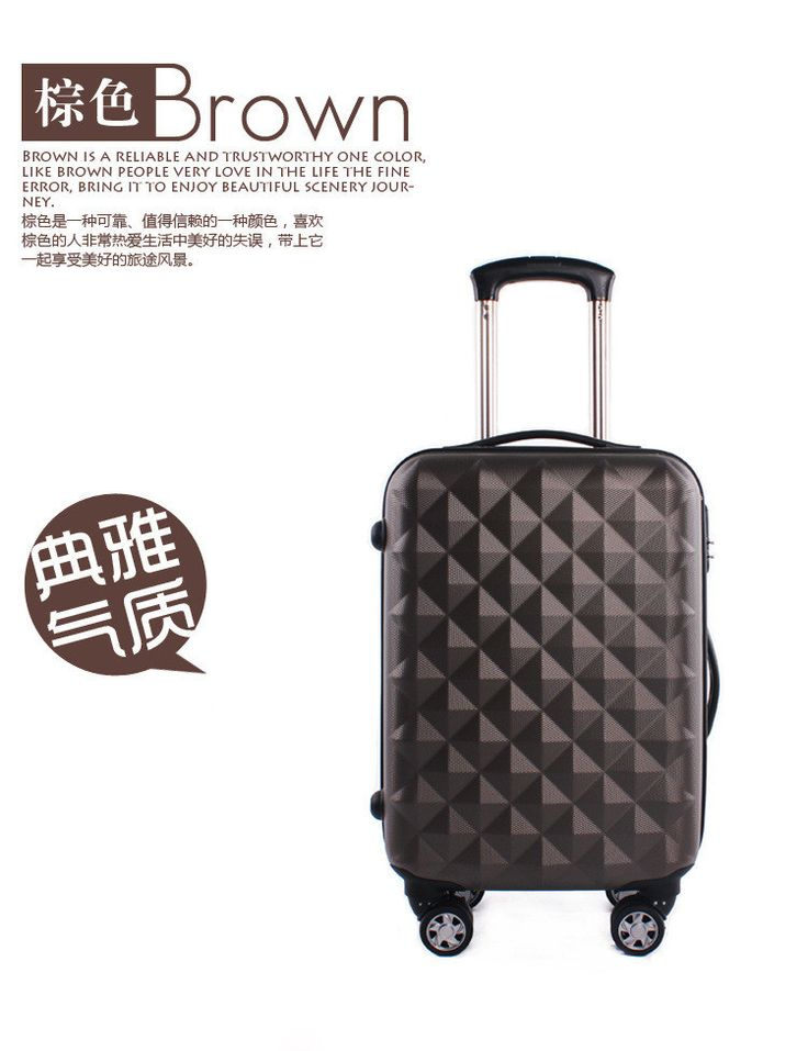 "mala de viagem com rodinha frosted ABS+PC 20"" luggage men luggage & travel bags airplane wheel piece diamond pattern"
