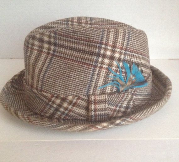 Dobbs Hat Vintage Fedora Size 6 7/8 Tan Plaid by aroundtheclock
