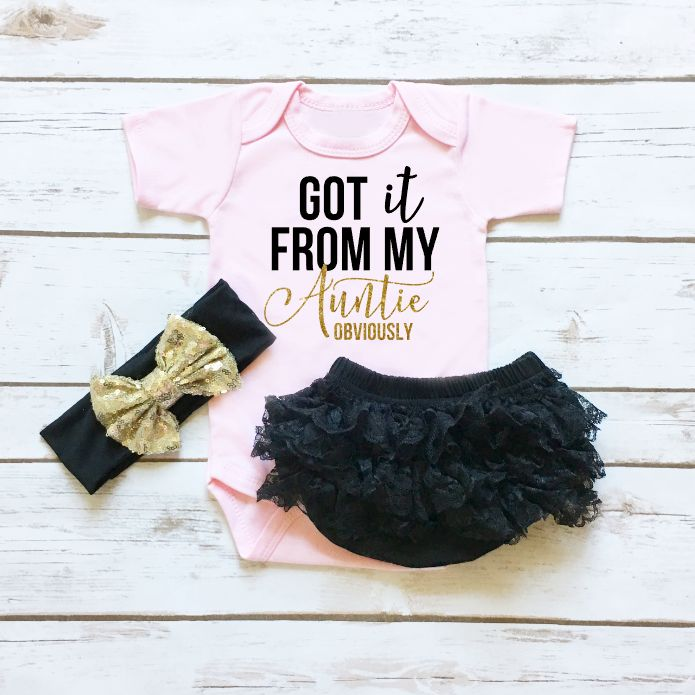 Got it From My Auntie | Baby Girl Clothes | Sparkle Onesie with Sequin Headband and Black Lace Ruffle Bottom Bloomers | Browse the entire collection at www.shopcassidyscloset.com