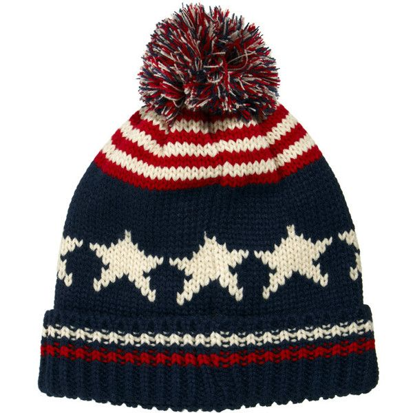 ASOS Bobble Beanie Hat with Stars and Stripes (121.300 IDR) ❤ liked on Polyvore featuring men's fashion, men's accessories, men's hats, hats, mens beanie hats, mens bobble hats and men's brimmed hats
