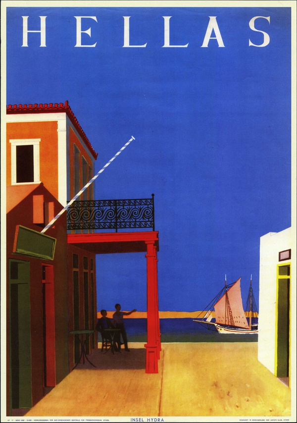 HELLAS / Greek Travel poster by Yiannis Moralis 1956 / Island of Hydra