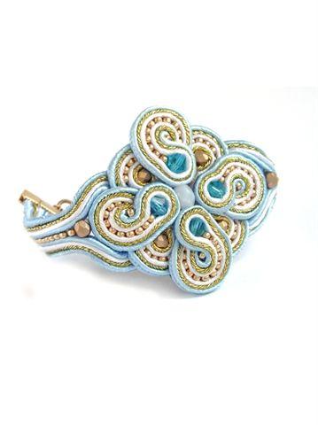 Браслет сутажный голубой
