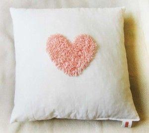 pillow cushion pad interior декор Подушки для интерьера. Подушки для фотосессий. Декорирование. Инициализация. Белый чехол. Сердце, расшитое розовой лентой.