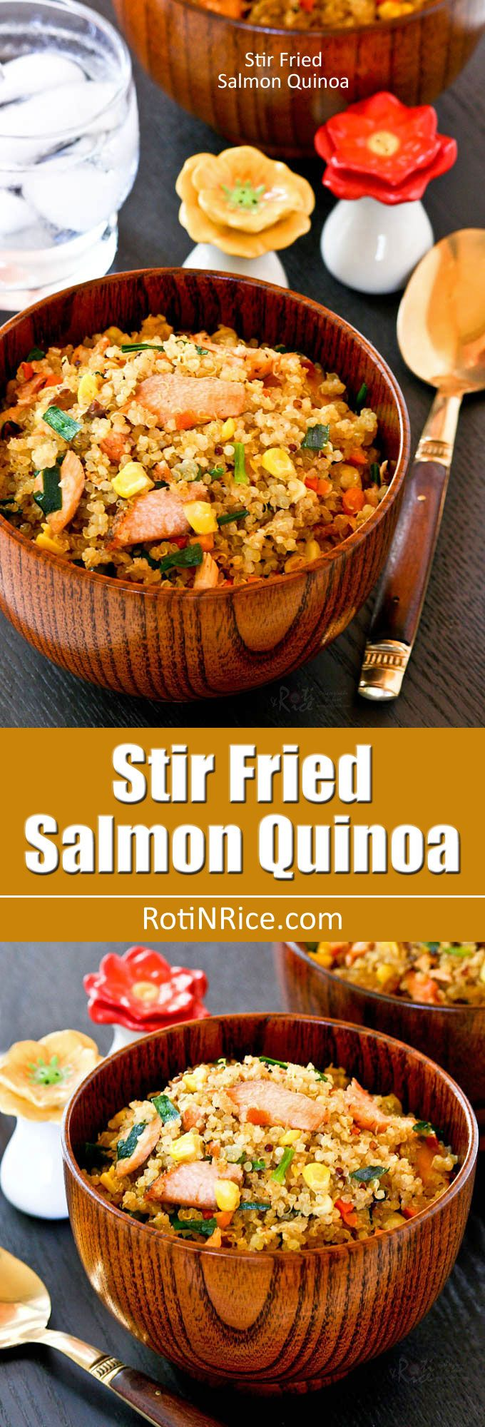 """Stir Fried Salmon Quinoa, a deliciously nutty fried """"rice"""" made with quinoa instead of rice and leftover grilled salmon, carrots, chives, and corn. 