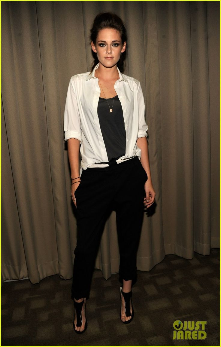 Kristen Stewart in  ALC pants, Jimmy Choo heels, and a Balenciaga shirt.  I try so hard to hate her but everything about this works...hair and makeup are flawless, outfit so simple..LOVE HER STYLIST!