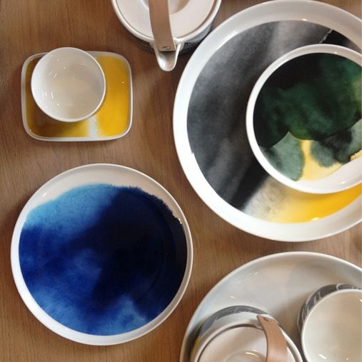 Marimekko Saapaivakirja, I like the watercolor or ink effects, a beautiful dining set.