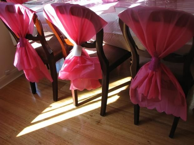 Looks Easy U0026 Cheap :) With Plastic Table Covers For Chairs And Ribbon Tie.