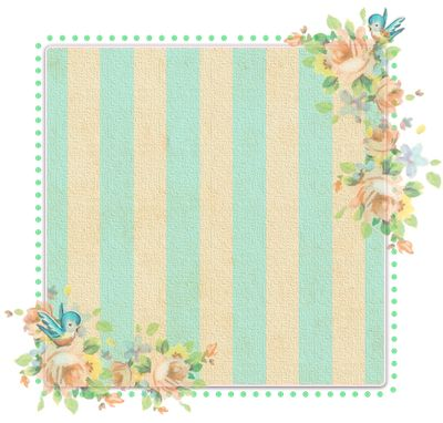 Frame - green stripe with corner floral accents