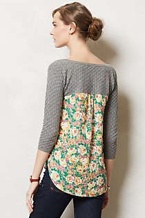 DIY idea...amp up a thrift store or old sweater using a puch of print. No sew sleeves...easy sew project.