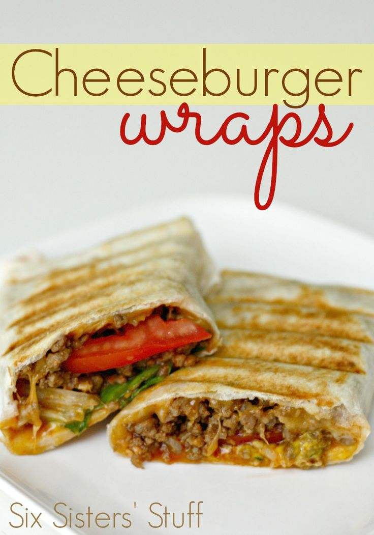 Our favorite weeknight dinner: cheeseburger wraps! From SixSistersStuff.com