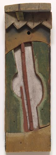 1924, Joaquín Torres García: Guitarra. Painted wood 37.7 x 10 x 7.7 cm. The Museum of Modern Art, New York. Abby Aldrich Rockefeller Fund.