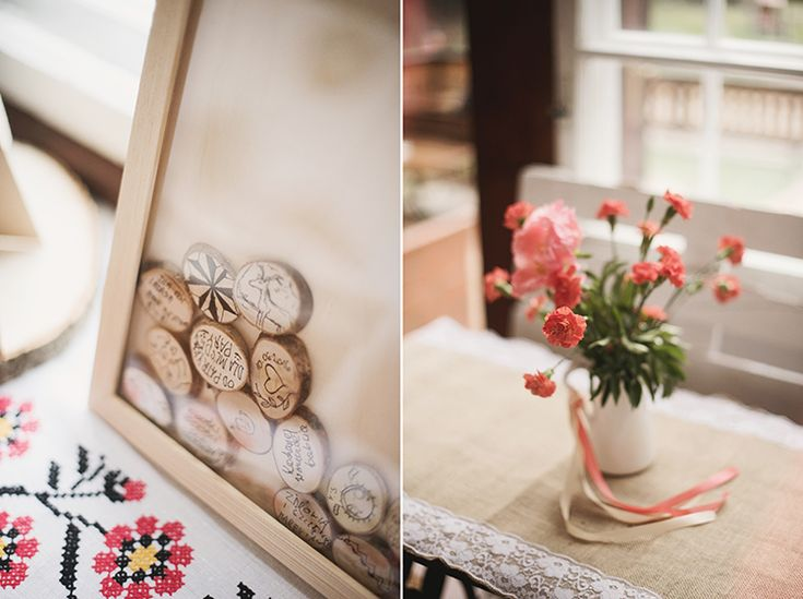 Wooden frame for the wedding guests signatures/flowers and colorful ribbons by GRUNT STUDIO