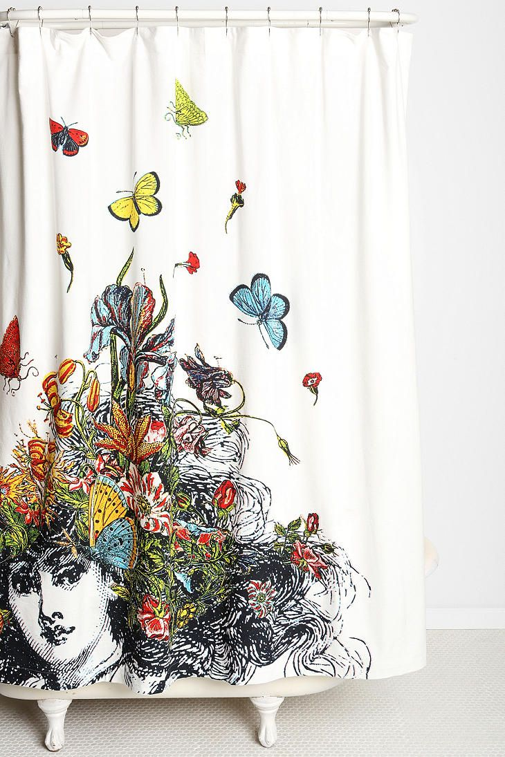 Restoration hardware shower curtain bee - Rococcola Girl With Butterflies Shower Curtain