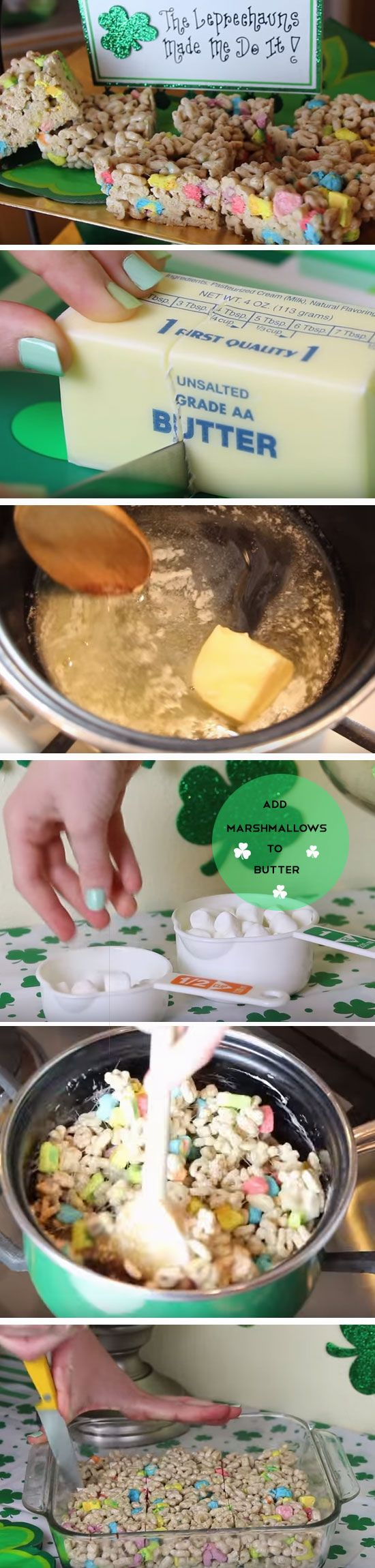 Lucky Charm Squares | Easy St Patricks Day Party Treats for Kids | DIY Birthday Treats for Kids for School