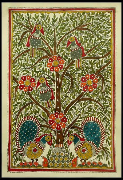 Madhubani painting, 'Celebrating the Tree of Life' by NOVICA