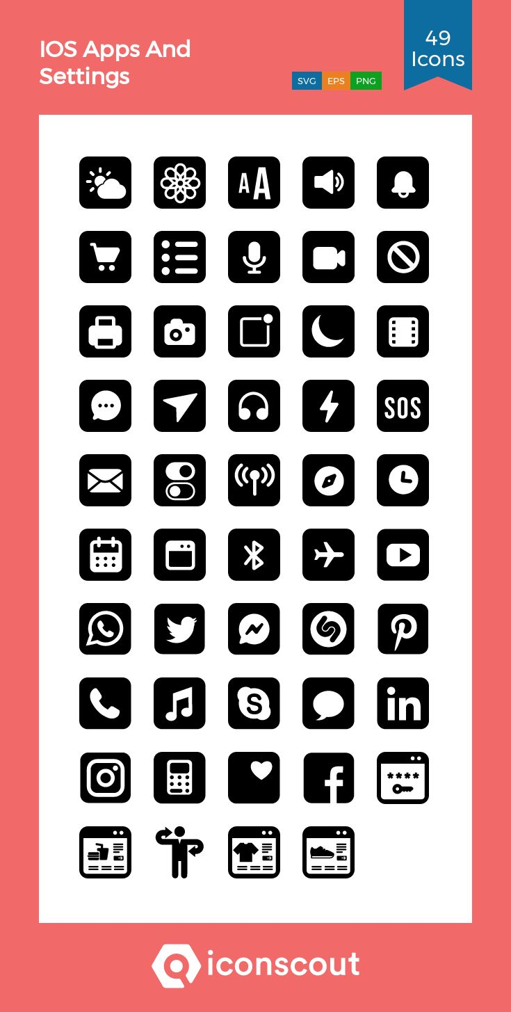 Download ios apps and settings icon pack available in