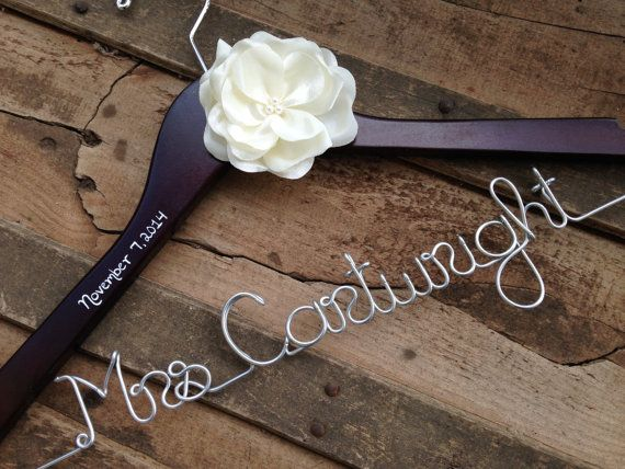 Wedding Dress Hanger with Satin Flower Many by DeighanDesign