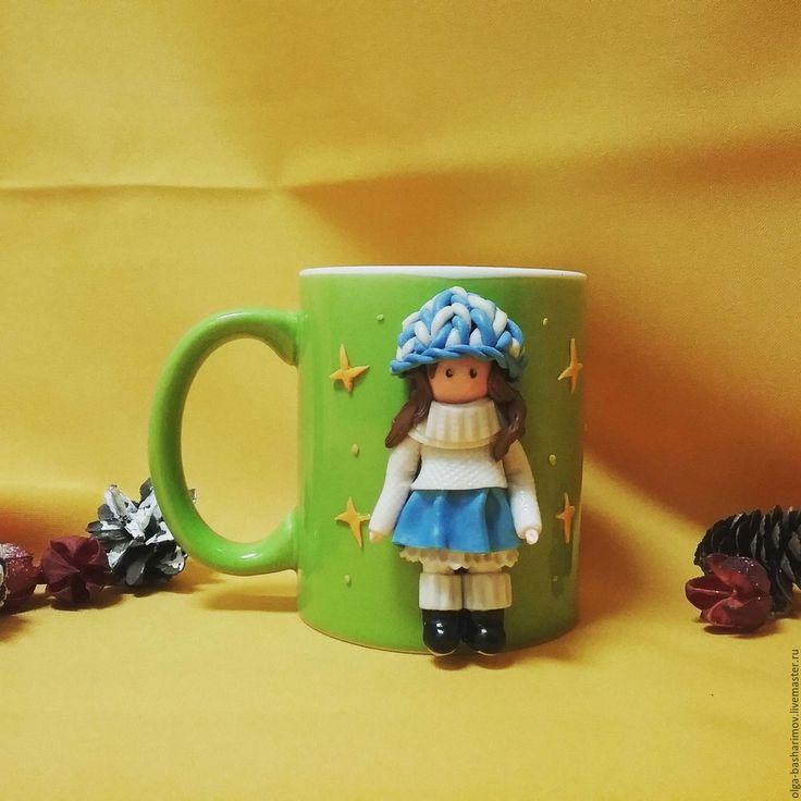 """Купить Декор кружки -"""" Малышка мимимишка"""" - зеленый, кружка, кружка в подарок"""