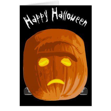 #Happy Halloween You Hope Frankenstein Pumpkin Card - #Halloween #happyhalloween #festival #party #holiday