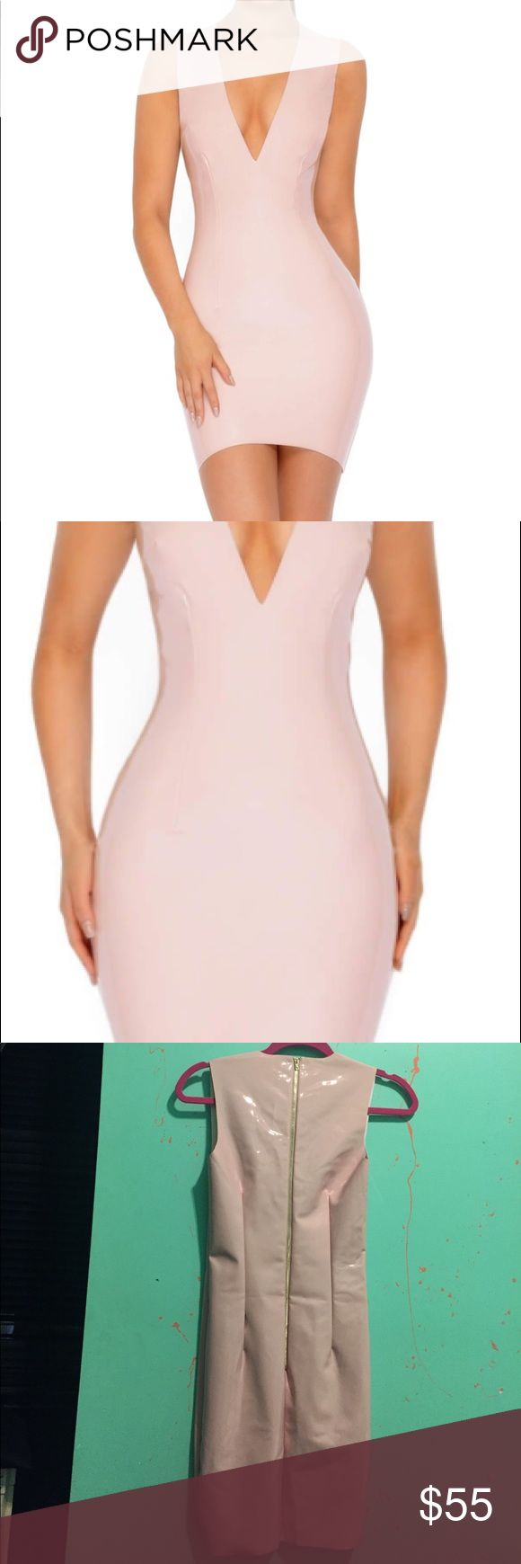 New NEVER WORN Oh Polly Trust in V Vinyl Mini Premium vinyl piece, fashioned with latex-like fabric designed to hug the body. Plunging neckline with soft interior lining ultra-short in the Blush colorway. UK Size 8 US Size 4 Oh Polly Dresses Mini
