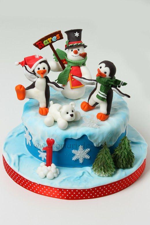 Tort cu pinguini pentru Rares