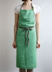 Green linen apron