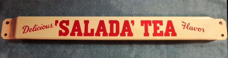mid century Salada Tea advertising door push bar in red on cream, porcelain enamel on metal