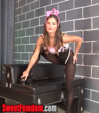 "http://www.sweetfemdom.com/index.php?vid=MzA4NA==  Chichi Medina is wearing a sexy bunny outfit with black pantyhose and high heels.  She loves teasing men like you.  ""Go ahead and rub that cock…  I'm not gonna touch it…""  She humiliates you for being a pervert, but keeps teasing you with her sexy body.  Eventually she decides to get herself off with a vibrator.  You can watch, but you can't touch.  Just touch yourself…"
