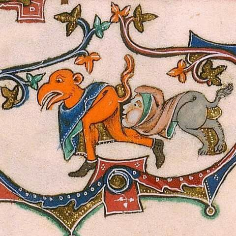 The Black Kiss . «Marginal scene of a grotesque hybrid examining another's hindquarters» Gorleston Psalter, c. 1310-1324, Add MS 49622, f. 104r,  The British Library. https://ello.co/marginaliams/post/tmefst3ws20y9zgarxqs1q